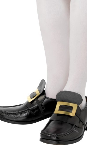 Gold metal shoe buckles with faux leather panel.