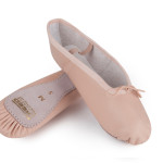 pink leather ballet shoes, suede sole