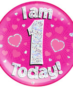 1st Birthday Pink Holographic Jumbo Badge