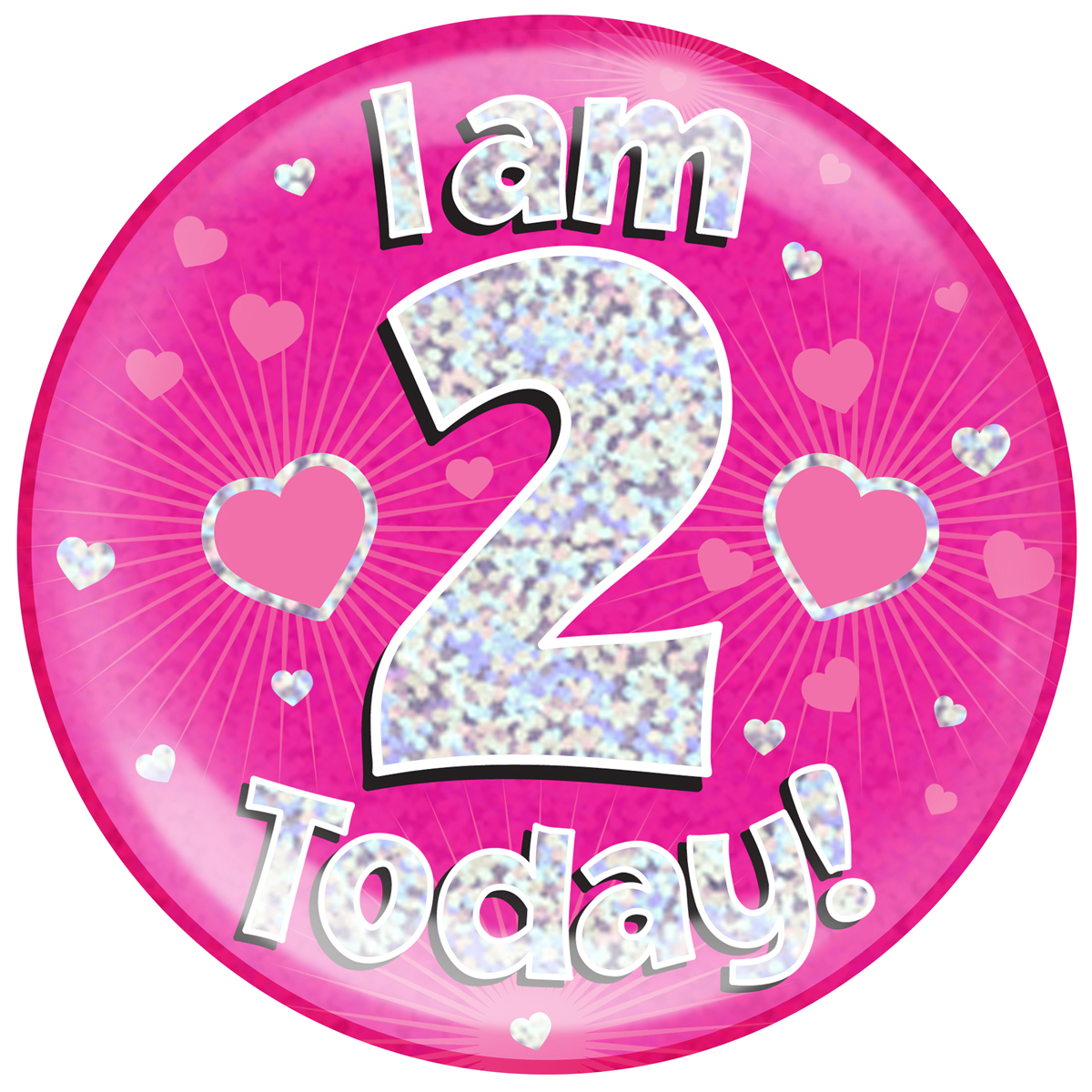 2nd Birthday Pink Holographic Jumbo Badge
