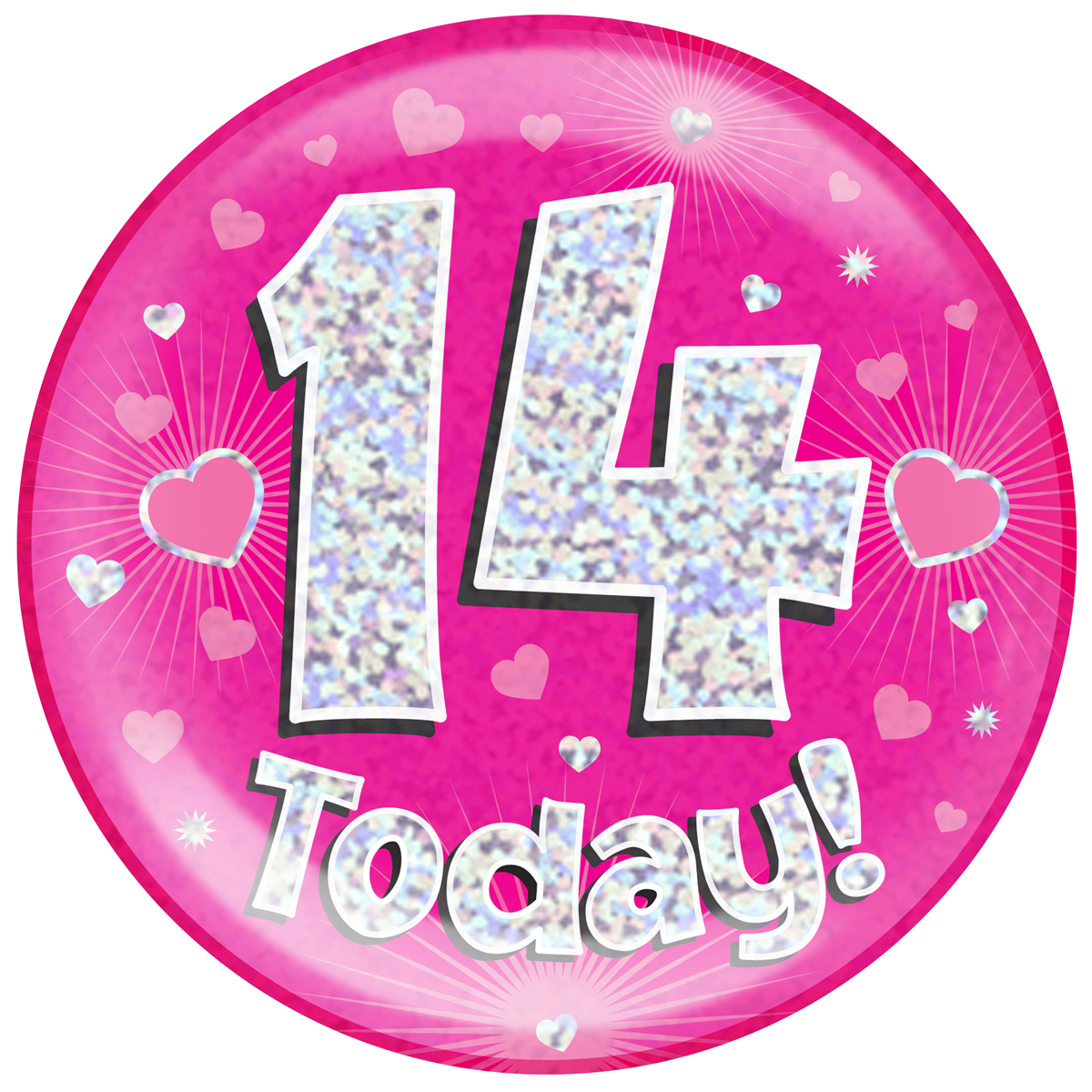 14th Birthday Pink Holographic Jumbo Badge Pageant Party