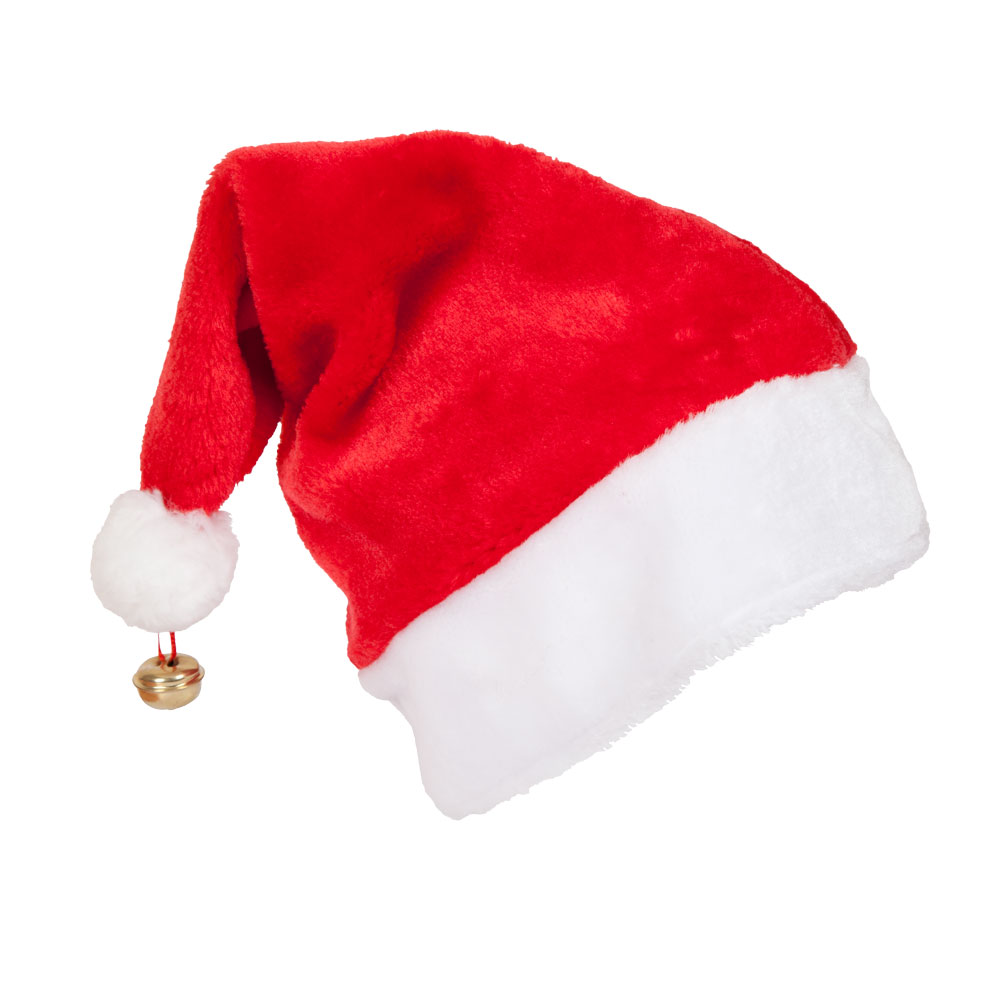Christmas Hats.Deluxe Santa Hat With Bell