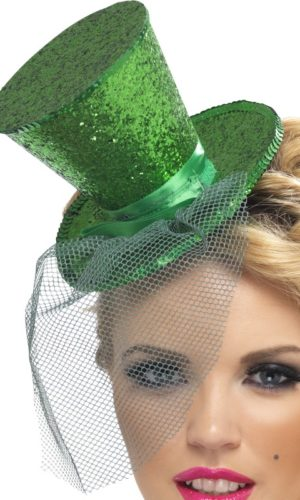 Green Glitter Mini Top Hat